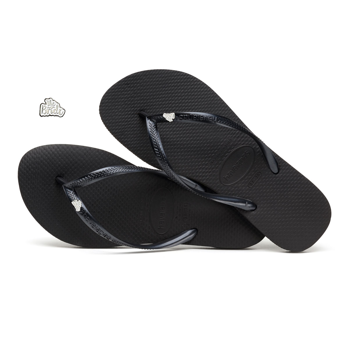Havaianas Slim Black Flip-Flops with Silver 'The Bride' Charm Wedding
