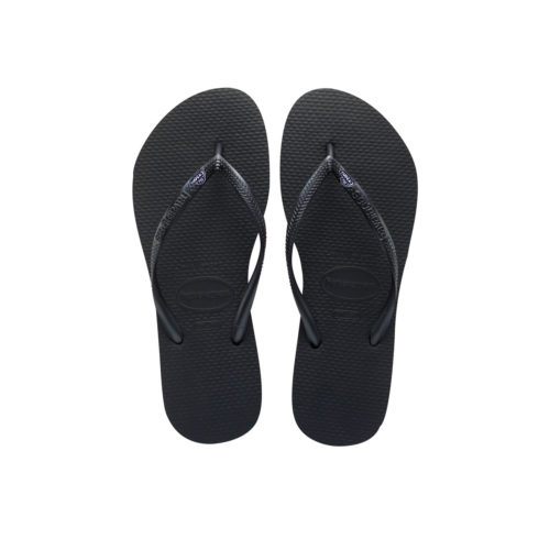 Havaianas Black Slim Flip Flops with The Groom Silver Navy Wedding Pin