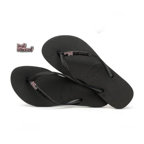 havaianas slim black glitter just married