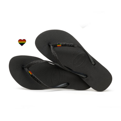 Havaianas Slim Black Flip-Flops with Pride Charm Personalised
