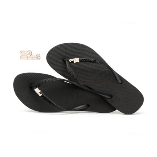 Rose Gold Just Married Havaianas Slim Black Glitter Wedding Havaianas
