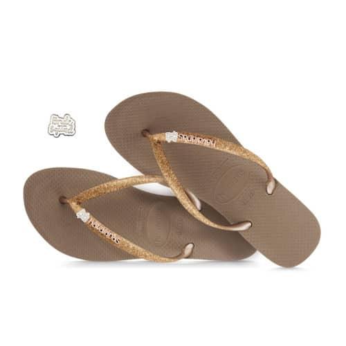 havaianas slim rose gold glitter bride squad silver