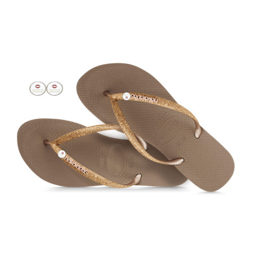 Havaianas Rose Gold Flip Flops with Silver Mrs & Mrs Wedding Charm