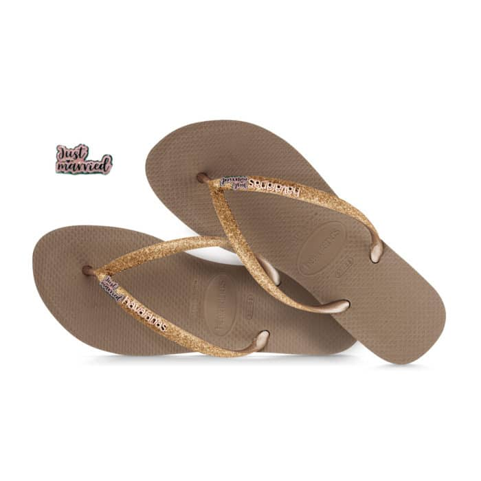 havaianas slim silver glitter just married pink glitter