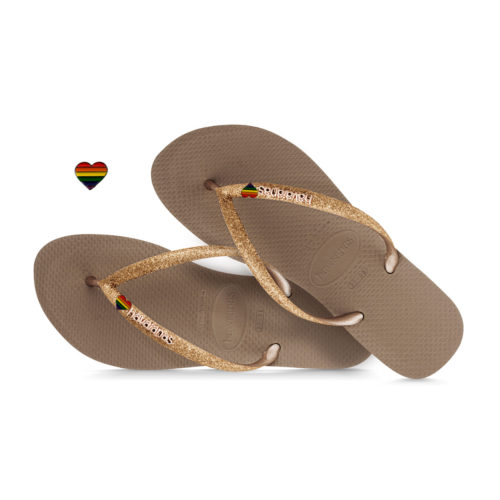 Havaianas Slim Rose Gold Metallic Flip-Flops with Pride Charm