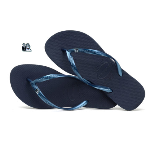 Havaianas Navy Flip Flops with Silver Bride & Groom Wedding Charm
