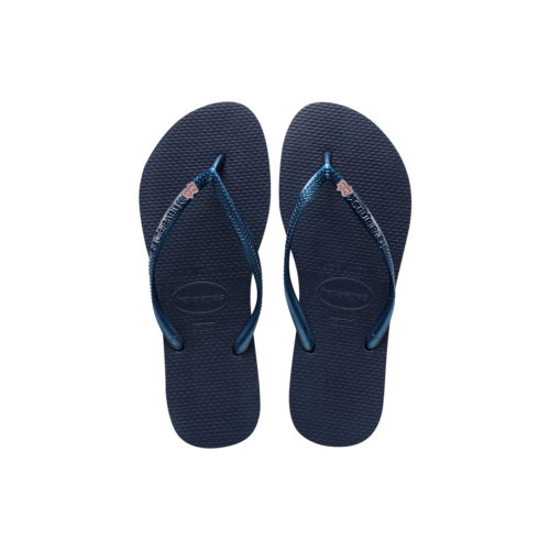 Havaianas Navy Flip Flops with Pink Glitter Bride Squad Wedding Charm