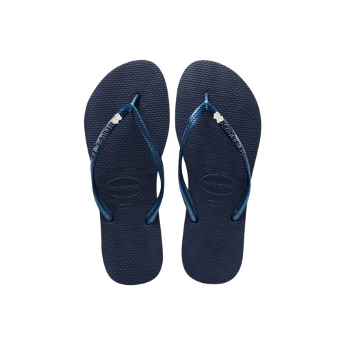 Havaianas Navy Flip Flops with Silver & White Bride Squad Wedding Pin