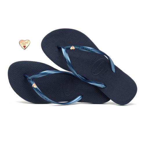 Havaianas Slim Navy Flip-Flops with Rose Gold Heart Wedding Charm