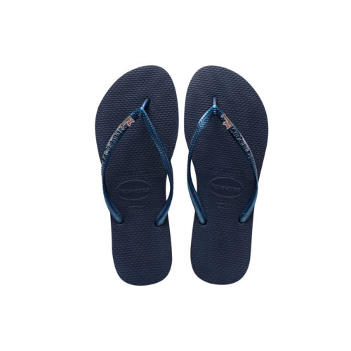 Havaianas Navy Slim Flip Flops with Just Married Pink Glitter Wedding