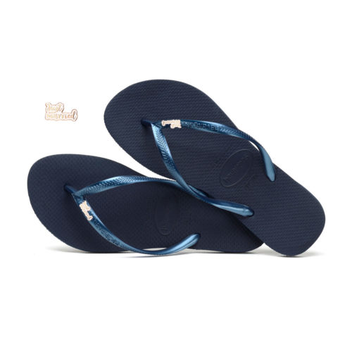 Havaianas Navy Slim Flip Flops with Rose Gold Just Married Wedding