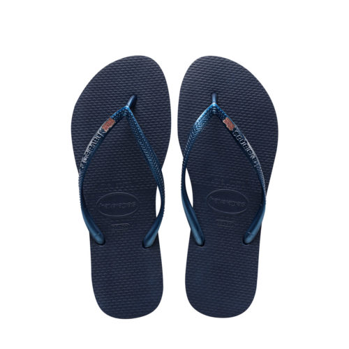 Havaianas Navy Flip Flops with Pink Glitter Mother of the Groom Wedding