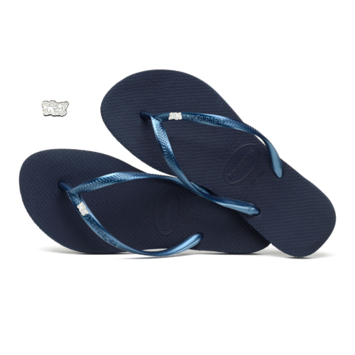 Havaianas Navy Flip Flops with Silver White Mother of the Bride Wedding
