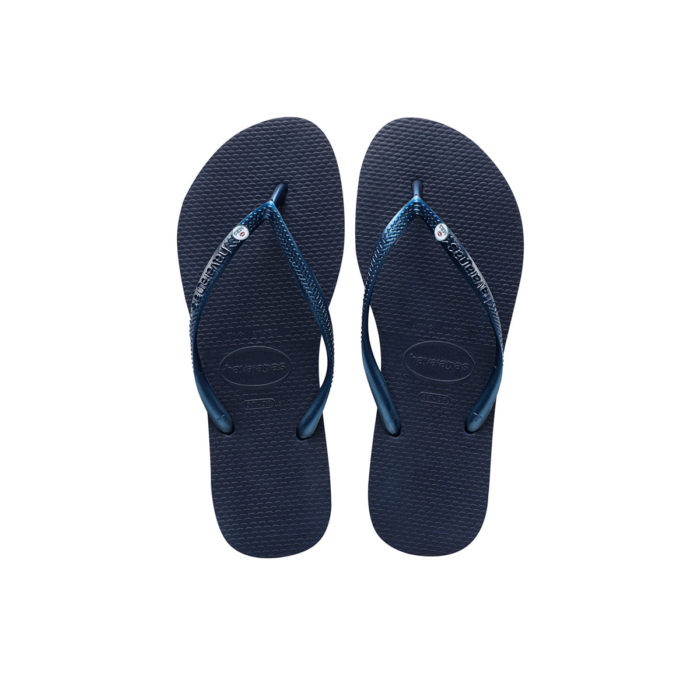 Havaianas Navy Flip Flops with Silver Mrs and Mrs Wedding Charm