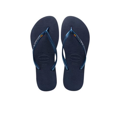 Havaianas Slim Navy Flip-Flops with Pride Heart LGBT Charm