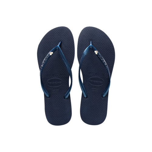 Havaianas Slim Navy Flip-Flops with Silver Heart Wedding Charm
