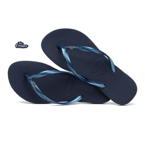 Havaianas Navy Flip Flops with The Groom Silver & Navy Wedding Pin