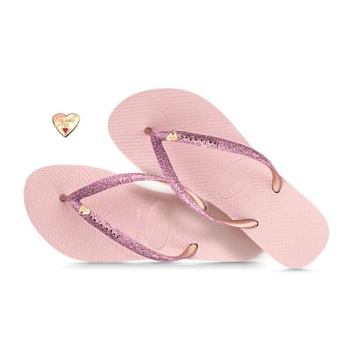 havaianas slim ballet rose glitter rose gold heart engraved