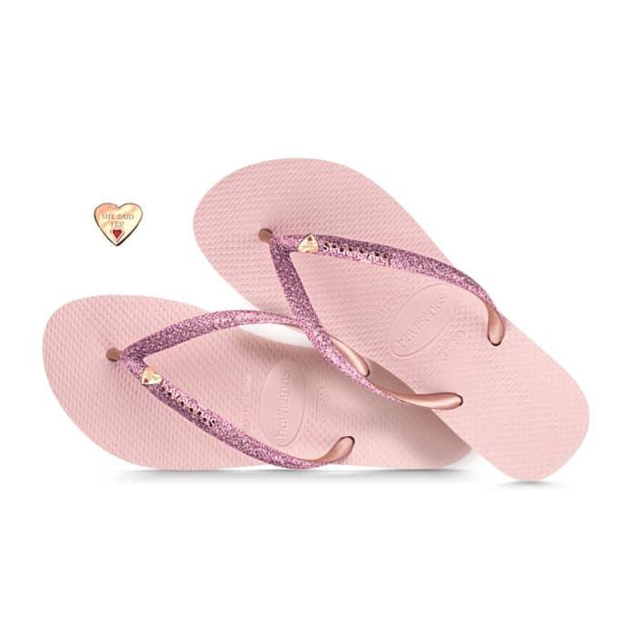 havaianas slim ballet rose glitter rose gold heart engraved