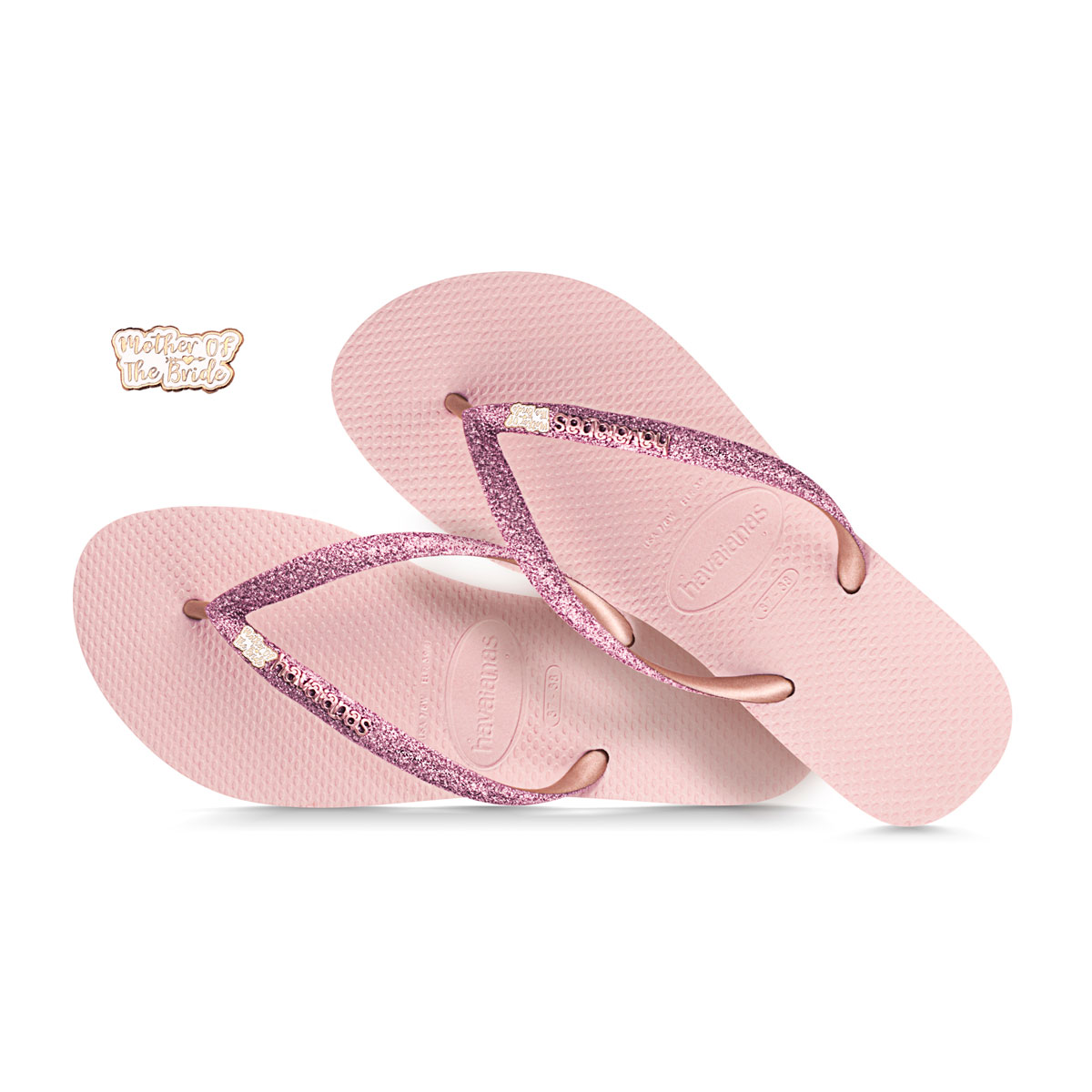 Rose Gold Mother of the Bride Havaianas Ballet Rose Glitter Wedding