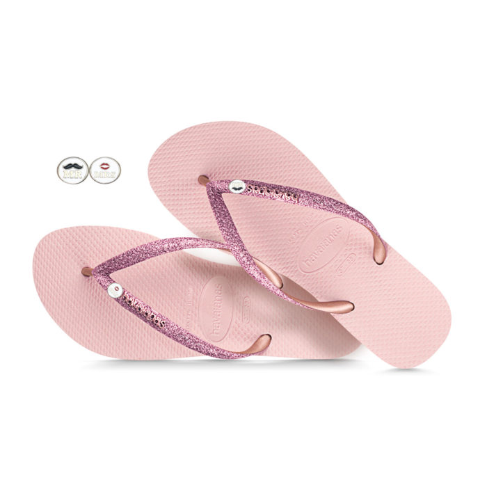 Havaianas Ballet Rose glitter Flip Flops with Mr and Mrs Wedding Gift