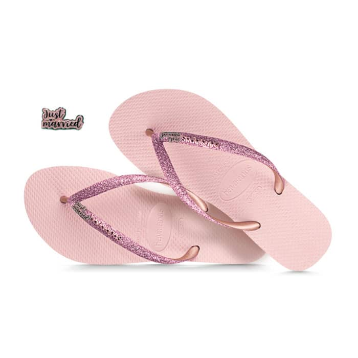 havaianas slim ballet rose glitter pink glitter just married