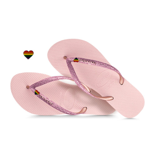 Havaianas Slim Rose Metallic Flip-Flops with Pride Charm Personalised