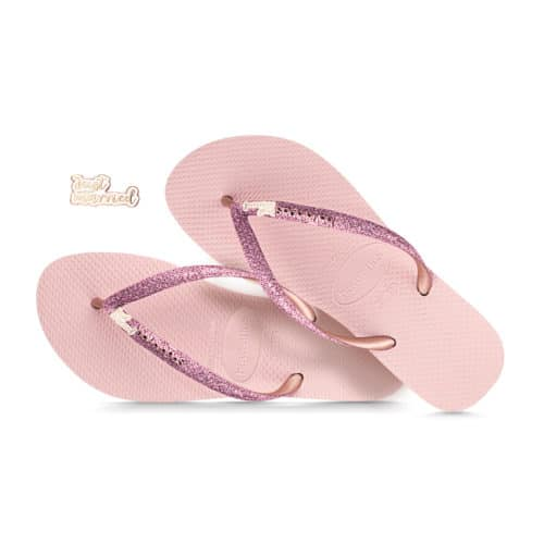 Just Married Rose Gold Havaianas Ballet Rose Glitter Wedding Havaianas