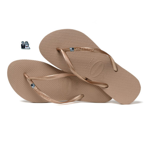Havaianas Rose Gold Flip Flops with Silver Bride Groom Wedding Charm