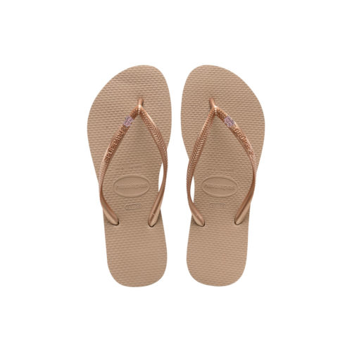Havaianas Rose Gold Flip Flops with Pink Glitter Bride Squad Wedding Pin