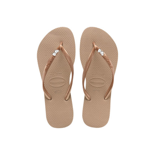 Havaianas Heel Rose Gold Flip-Flops with Heart Charm Personalised