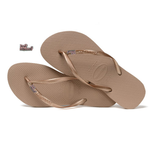 Havaianas Rose Gold Flip Flops with Just Married Pink Glitter Charm