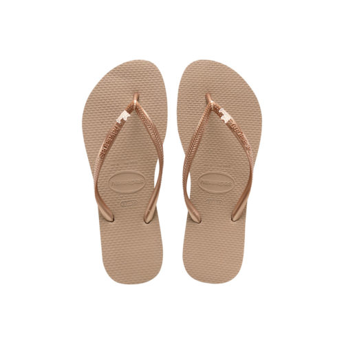 Havaianas Rose Gold Flip Flops with Rose Gold Just Married Charm