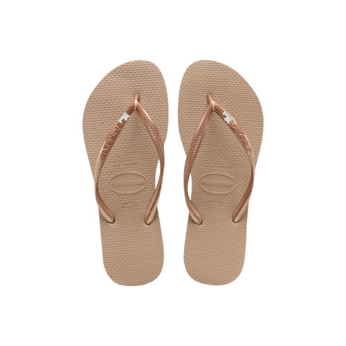 Havaianas Rose Gold Flip Flops with Just Married Silver & White Charm