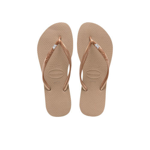 Havaianas Rose Gold Flip Flops with Silver White Maid of Honour Wedding