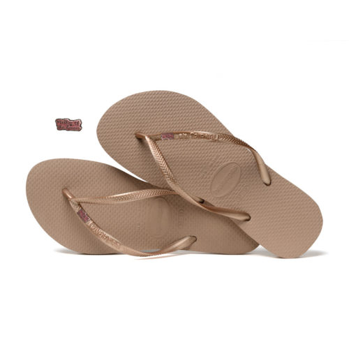Havaianas Rose Gold Flip Flops with Pink Glitter Mother of the Groom Pin