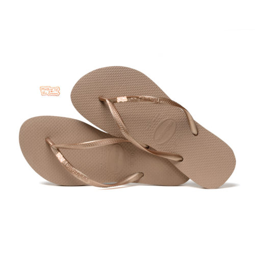 Havaianas Rose Gold Flip Flops with Rose Gold Mother of the Groom Pin
