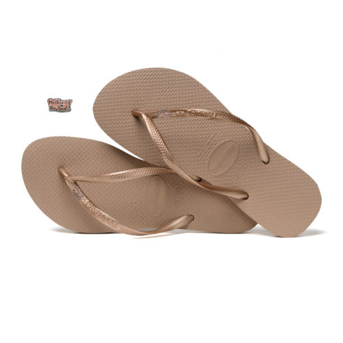 Havaianas Rose Gold Flip Flops with Pink Glitter Mother of the Bride Pin