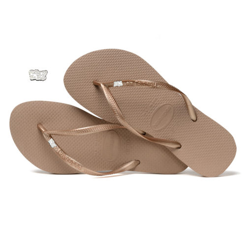 Havaianas Rose Gold Flip Flops with Silver White Mother of the Bride Pin