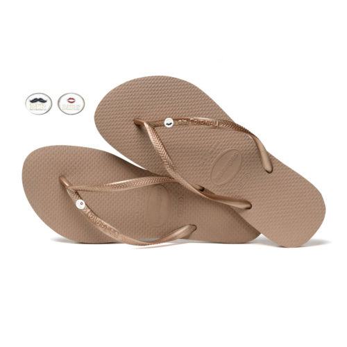 Havaianas Rose Gold Flip Flops with Silver Mr & Mrs Wedding Charm