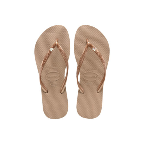 Rose Gold Havaianas Slim Silver Heart Wedding Personalised Flip Flops