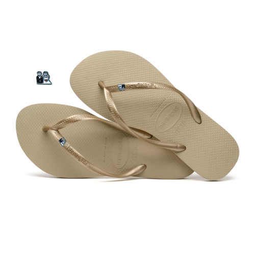 Havaianas Sand Grey Flip Flops with Silver Bride & Groom Wedding Pin