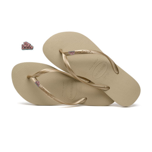Havaianas Slim Sand Grey Flip-Flops with 'The Bride' Charm Wedding