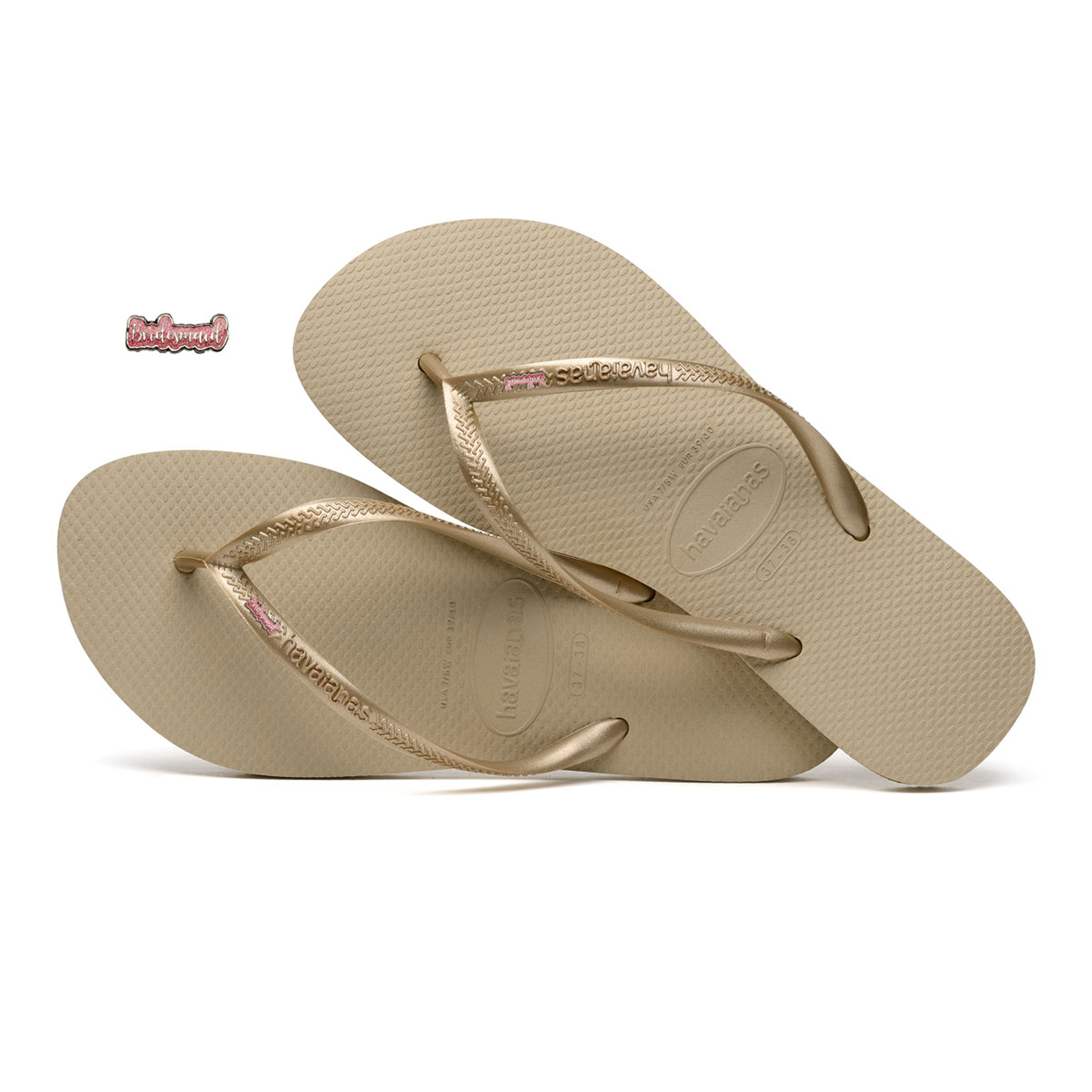 Havaianas Sand Grey Slim Flip-Flops with Pink Bridesmaid Wedding Gift