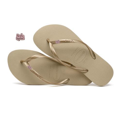 Havaianas Sand Grey Flip Flops with Pink Glitter Bride Squad Wedding Pin