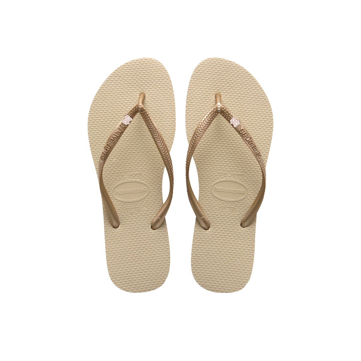 Havaianas Sand Grey Flip Flops with Rose Gold Bride Squad Wedding Pin