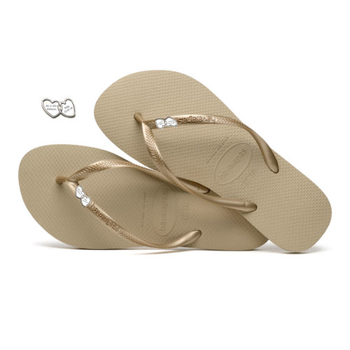 Havaianas Sand Grey Flip-Flops with Silver Heart Charm Personalised