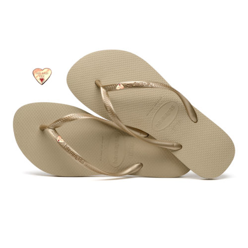 Havaianas Sand Grey Flip-Flops with Gold Heart Charm Wedding Gift
