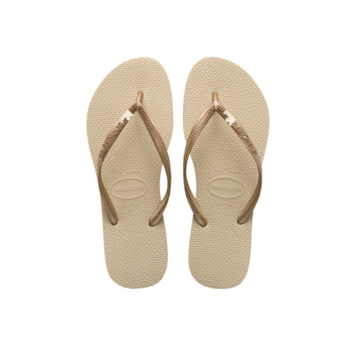 Havaianas Sand Grey Flip Flops with Rose Gold Just Married Charm