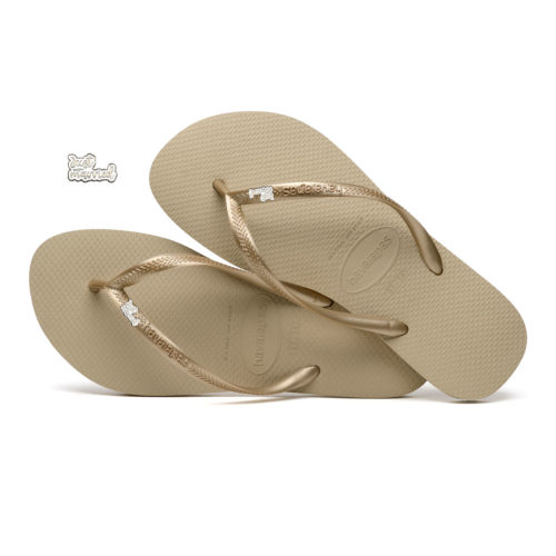 Havaianas Sand Grey Flip Flops with Silver & White Just Married Charm